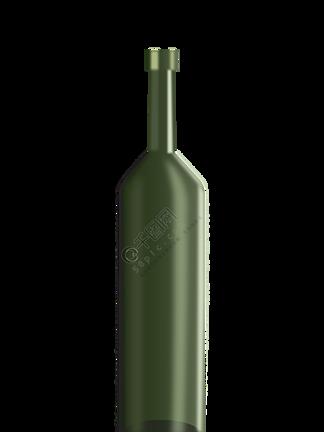 仿真绿色红酒瓶插画