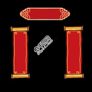 新年元素红色喜庆对联装饰元素