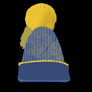 蓝色保暖帽子插画