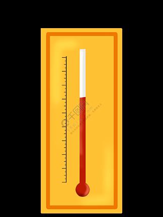 黄色化学温度计插画