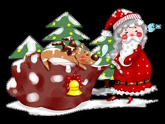 卡通手绘原创厚涂圣诞节老人与小鹿插画PNG