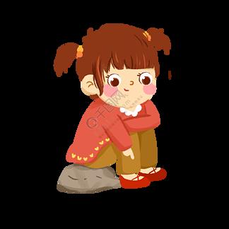 坐在石頭上的可愛小姑娘免摳圖