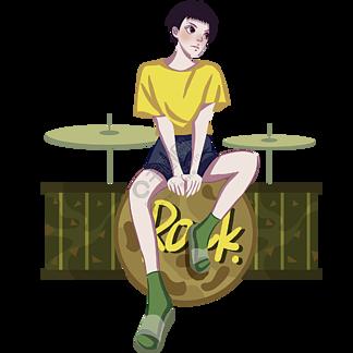 坐在架子鼓上的短發女孩免摳圖