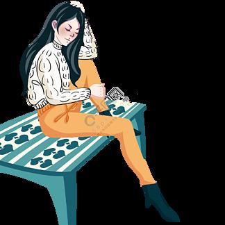 坐在花紋茶幾上的文藝女青年
