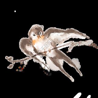 站在樹枝上的棕色燕子插畫