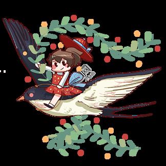 春季坐在燕子上的小女孩