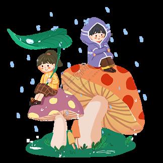 24節氣雨水蘑菇上的春天