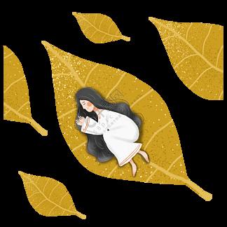 簡約手繪睡在樹葉上的女孩插畫海報免摳元素