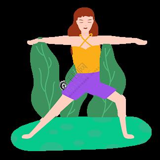 卡通插畫風做瑜伽的女孩