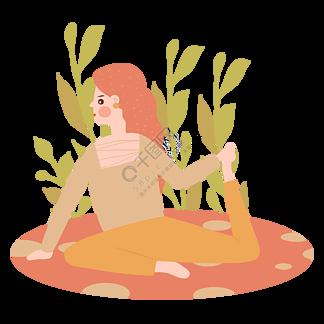 卡通插畫風做瑜伽的女人