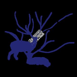 卡通紫蓝色的简笔画小鹿免抠图
