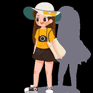 背着包带着帽子出游的女孩