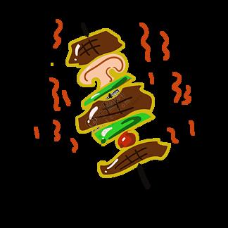美味的烤肉装饰插画