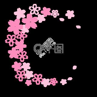 春季粉色樱花边框卡通<i>素</i><i>材</i><i>下</i><i>载</i>