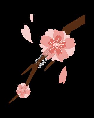 粉色花春季樱花插画