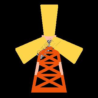 木头的风车装饰插画
