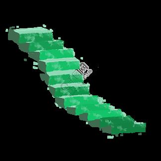 绿色楼梯卡通插画