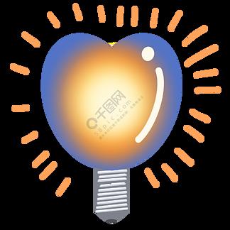 发光的心形灯泡插画