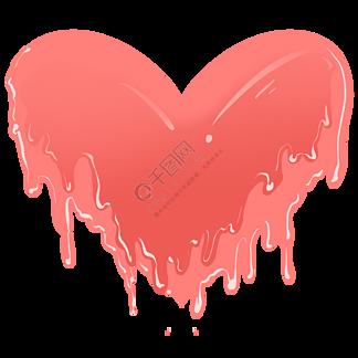 红色的心形冰淇淋插画