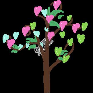 粉色的心形小树插画