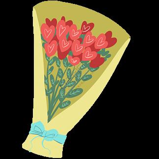 漂亮的心形花束插画