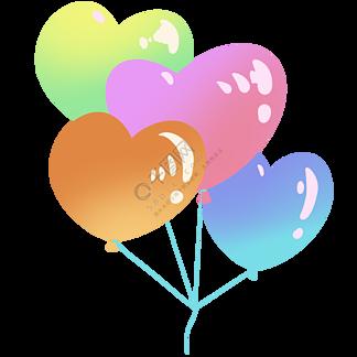 飘荡的心形气球插画