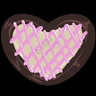 粉色的心形饼干插画