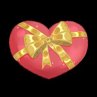 红色的心形礼物盒插画