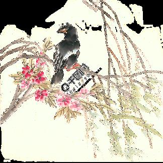 乌鸦与鲜花水墨画PNG免抠素材