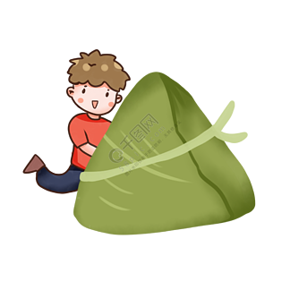 端午节传统节日吃粽子的男孩