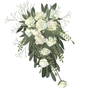 灰色创意白色花朵元素