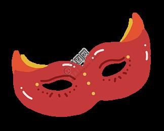 红色面具卡通插画