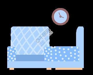 蓝色家具沙发