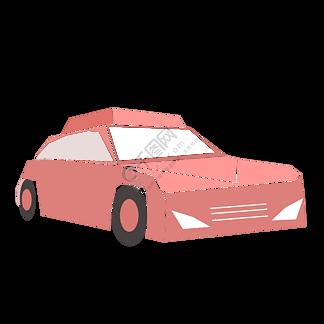 红色卡通小轿车