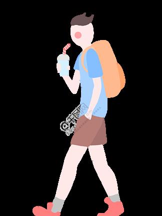旅游喝果汁男孩