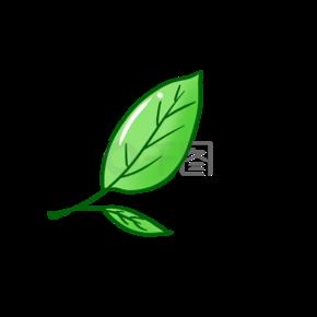 卡通手绘一片绿树叶