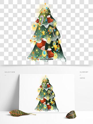 卡通圣誕節裝飾的圣誕樹