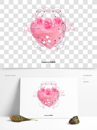 日本玫瑰花邊框插畫心形婚禮素材
