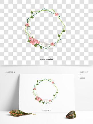 日本插畫玫瑰花邊框婚禮素材