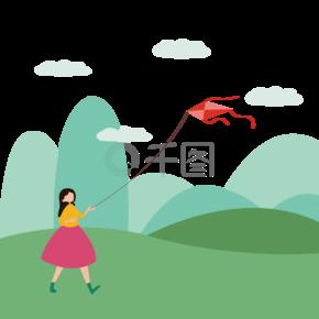 春季小女孩放风筝可爱踏青卡通手绘