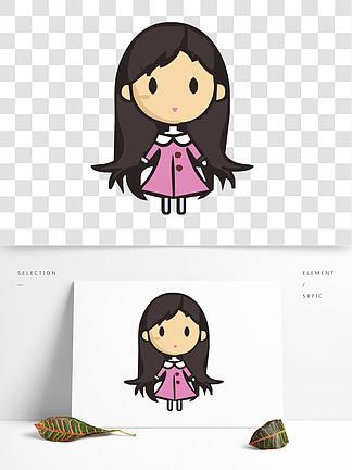 手绘卡通穿粉色裙子的可爱小女孩免抠元素