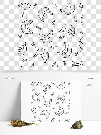 夏日水果小清新手绘线条香蕉树叶