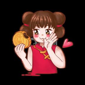 中秋节卡通福娃之女孩吃月饼