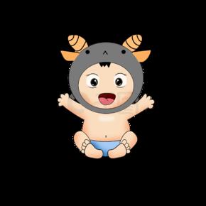 头上带着有角帽子的卡通婴幼儿