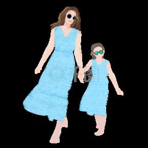 亲子旅游妈妈带着女儿在海边度假png下载
