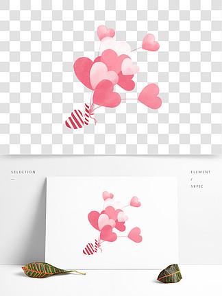 卡通粉色爱心漂浮气球情人节<i>七</i><i>夕</i>装饰气球psd源文件