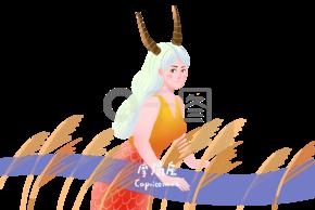十二星座摩羯座手绘插画