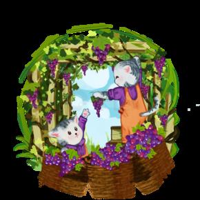 秋天丰收猫咪收获葡萄插画