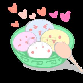卡通手绘一碗汤圆矢量插画