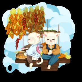 秋天丰收猫咪农忙休息插画